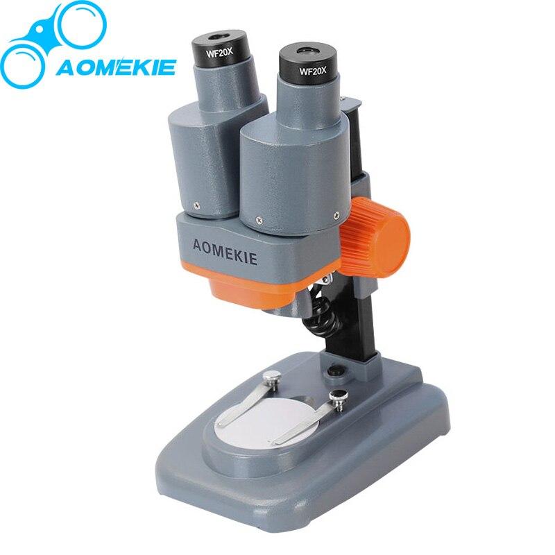 AOMEKIE 40X Binocular Stereo Microscope LED Light PCB Solder Mineral Specimen Watching Kids Science Education Phone Repair Tool<br>