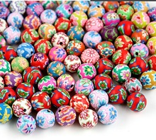 DIY Bohemia Bracelet Assorted Colors Ball Round Fimo Polymer Clay Ceramic Spacer Loose Beads  For woman Fashion Jewelry