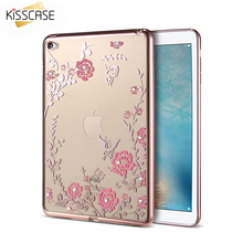 KISSCASE Diamond Floral Cases For iPad Air 2 Cover Flowers Ultrathin Silicone Shell Case For Apple iPad 6 Air2 Tablet Accessory