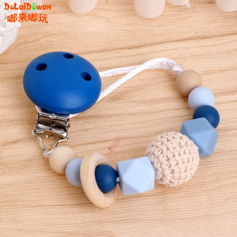 Baby Silicone Teething Dummy Pacifier Clip Bead Infant Soother Nipple Strap Chain