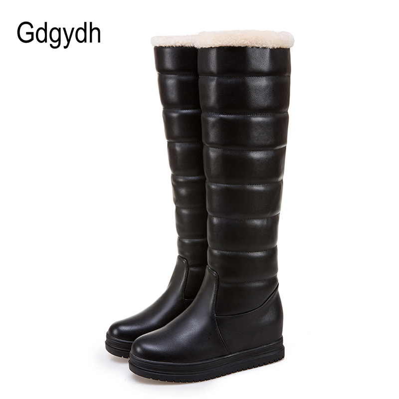 Gdgydh Platform Snow Boots Women Knee Height Plush Insole Black White 2017 New Winter Russian Warm Shoes Outerwear Plus Size 43<br>