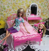 Wholesale 5SET/LOT (Dressing Table+Desk + Bed+ Pillow + Bedsheet ) 1/6 Dolls Girls Nice Birthday Gifts Baby Doll Bed(China)