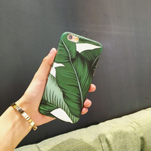 Banana Leaf Case For iphone 6S 6 Plus Summer Cool Plants Leaves Hard Frosted Plastic Case For iphone 7 7plus Phone Cases Cover