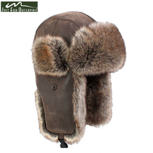 2017 New Winter Casual Brand PU Leather Fur Hats Men Women Windproof Warm Bomber Hats Motorcycle Flight Ear Protection Cap Hi-Q(China)