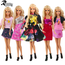 5 piece / lot New High quality clothing doll dress & Fashion clothes for Barbie doll Free shipping(China)