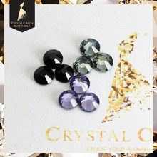 Crystal Castle Jet Black Diamond Tanzanite Glass Crystal Strass Flatback Stone Hot Fix Rhinestone Hotfix For Wedding dresses(China)