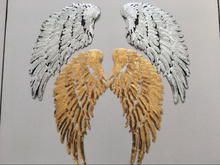 2Pair Large Sequins Patch DIY Silve Angel Wings Patches For Coat or Clothes stick-on Embroidered Patch Motif Applique A613