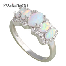 Brand Designer! White Fire Opal Silver Stamped Rings Wholesale & Retail Ring USA Size #6#7#7.5#8.5*Fashion Jewelry *OR622