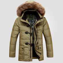 Down Jacket 2016 New Fashion Winter Jacket Men Down Coat Long Thick Warm Outwear Hooded Men's Parka Outerwear Big Size 4XL W145