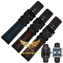 2016 New Original Fashion Men's Watch Leather Belt Watch Band Black Red Genuine Leather Strap Accessories Watch Band