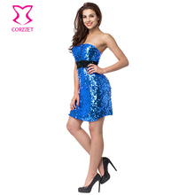 Buy Blue/Black Sequin Strapless Sleeveless Backless Short Plus Size Womens Sexy Dresses Party Night Club Dress Robe Femme Ete 2017 for $19.50 in AliExpress store