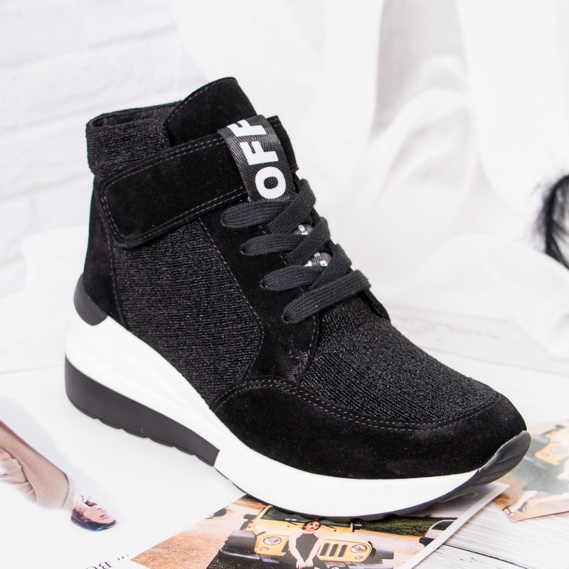 BELISS 2018 spring autumn ankle boots wedges cow suede leather platform hook loop women sneakers (8)