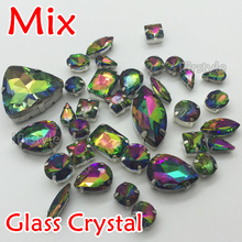 Rainbow Color Sew On Glass Fancy Stone with claw setting Navette,Teardrop,Rivoli,Rectangle,Oval Many Shapes Sewing Crystals
