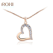 10 pcs / Lot ROXI Women Neckalce Rose Gold Gold Crystal Heart Chokers Necklaces For Woman Wedding Collier Femme Jewelry(China)