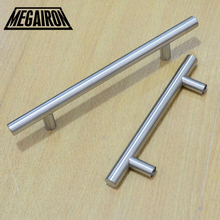 "MEGAIRON 10pcs T Bar 96mm L6"" Kitchen Cabinet Door Drawer Stainless Steel Bathroom Door Push Handle Furniture Handle(China)"