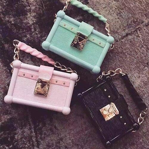 High quality  fashion famous brand design Macaron color acrylic box clutch bag purse party handbags chain shoulder bag 3 color<br><br>Aliexpress
