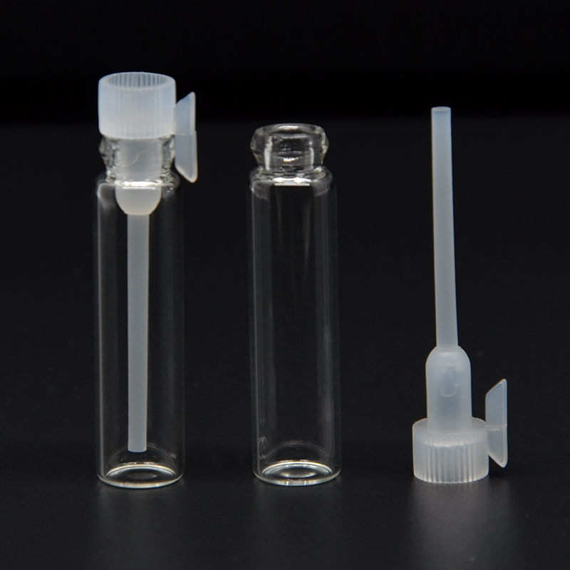 Z003-1 Heat Set 50Pieces/Lot 1ml Micro Glass Perfume Bottle Inflatable Glass Tube Bottle Empty Perfume Bottle Dropper Bottle