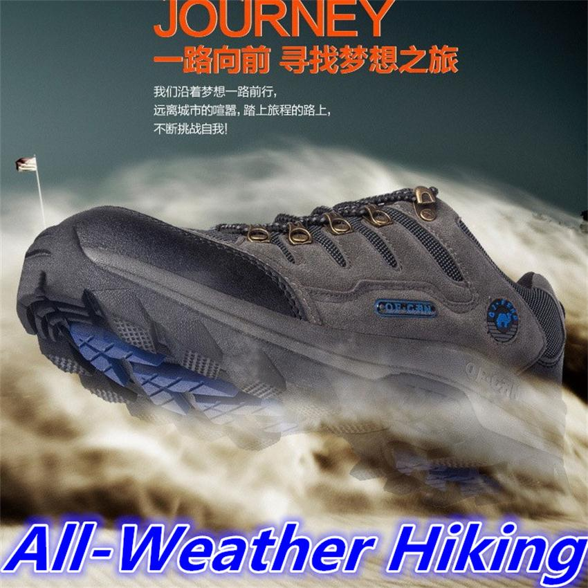 Outdoor hiking athletic shoes men women trekking brand outventure travel hunting breathable leather shoes ankle boots big size(China (Mainland))