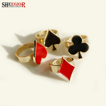SHEEGIOR Lovely Gold color Poker Rings for Women Punk Fashion Jewelry Heart Block Spade Club Shape Men Ring Set Accessories Gift