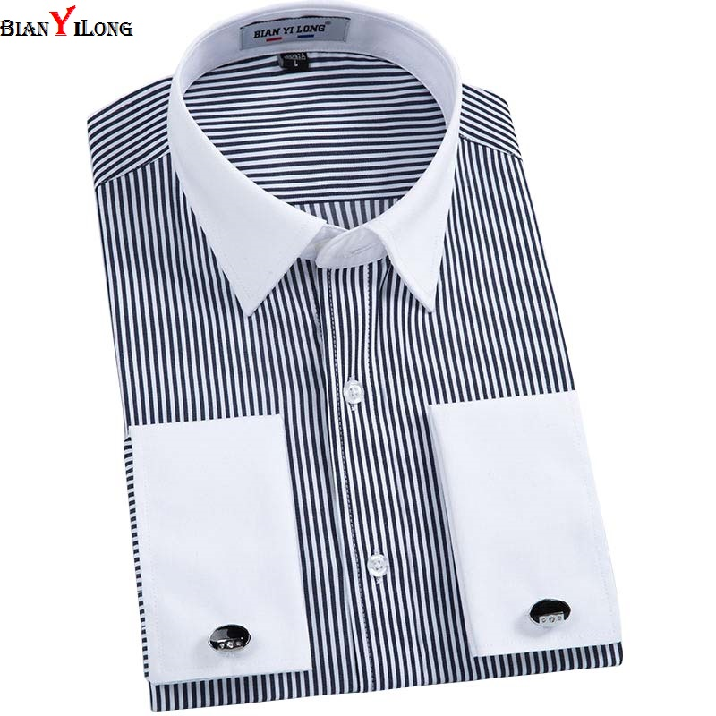 BIANYILONG 2017 New Luxury French Cuff Striped Full Dress Shirts Lapel Long Sleeve Classic-fit Formal Men Shirt Big Size 5XL 6XL