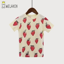 Fashion Girls Boys T-shirts Summer Short Sleeve Strawberry Pattern Children's Clothing Baby Top Tees 1-6Yrs Kids T Shirts