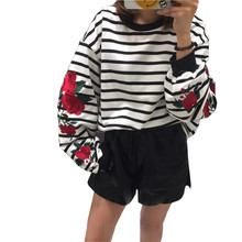 Clobee 2017 Autumn Harajuku Hoodies Roses Embroidered Lantern Sleeve Loose Striped Women Sweatshirt Vintage Elegant Tops Femme(China)