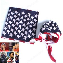 Fashion Unisex US Flag Scarves Bandanas Hip-hop Dance Travel Head Scarf
