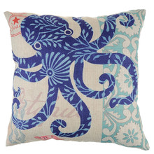 "Marine Ocean Style Sea octopus Patterns Square 18"" Cotton Linen Sea Horse Sofa Throw Cushion Covers Home Decor Pillows(China)"