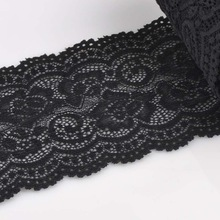 10cm width Black Springy Lace Fabric Trim Ribbon Garment Accessories for wedding decoration 2 yard/lot DIY CP0343