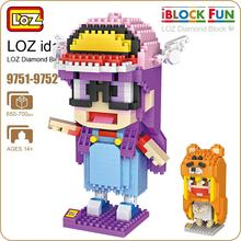 LOZ Diamond Blocks Cute Girl Micro Building Blocks Figures Set Pixels Kids Assembly Toys Educational DIY Bricks Child 9751-9752(China)