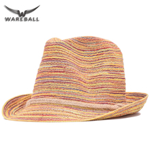 WAREBALL 2017 New Brand Bohemia New Women Fashion Rainbow Straw Flat Top Floppy Beach Cap Sun Hat For Lady&Girl  wholesale