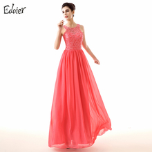 Pink Bridesmaid Dresses A Line O Neck Floor Length Lace Chiffon Cheap Wedding Party Dresses Plus Size Long Bridesmaid Dress 2017(China)