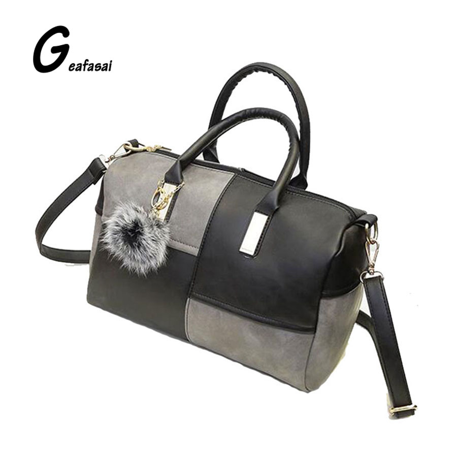 ladys pouch ladies small pillow shoulder bag PU leather handbag for women female lady patchwork red and grey and black fur ball<br><br>Aliexpress