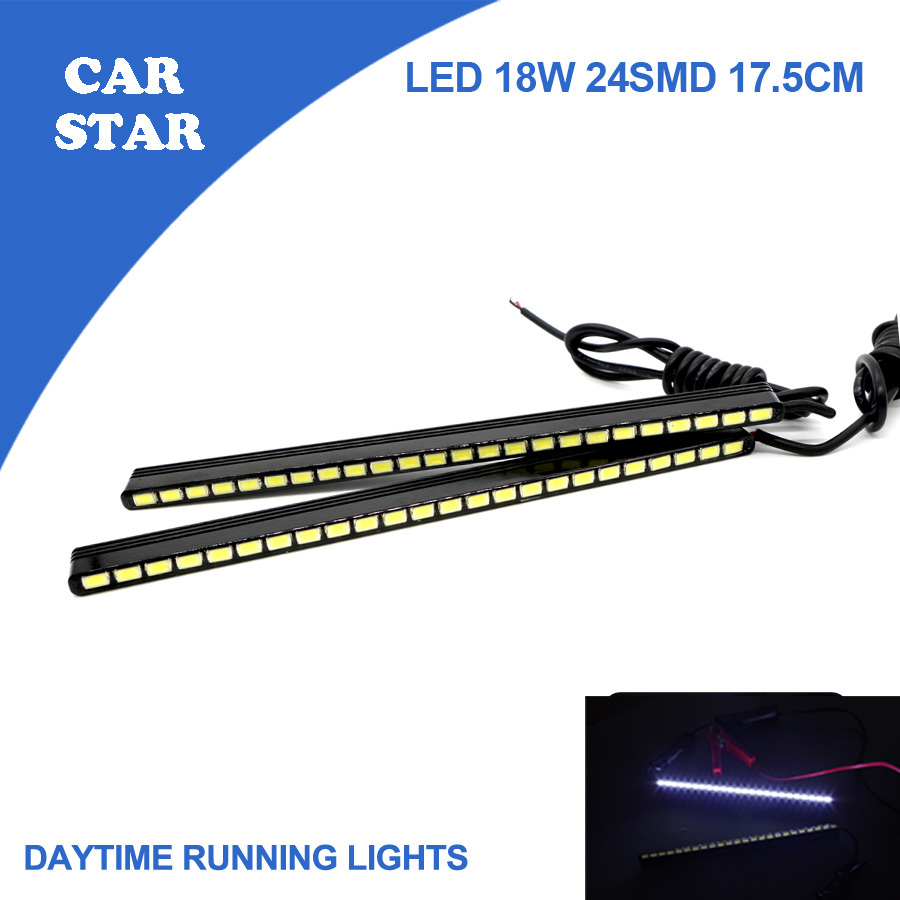 Free Shipping 2PCS/SET Daytime Running Lamp Car LED DRL 2*9W 24SMD  15.5CM Ultra White 100% Waterproof DRL High Power For benz<br><br>Aliexpress