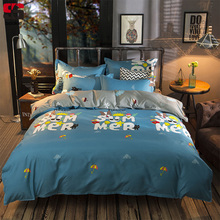 Sookie Cartoon Letter Print Bedding Set 4/6pcs Modern Style Duvet Cover Sets With Bed Sheet Twin Full Queen King Size Bed Linen(China)