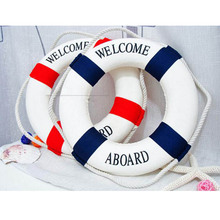 1pc Fashion Mediterranean Family Adorment Life Buoy Crafts 3D Wall Sticker Living Room Decoration Nautical Home Decor YL870215(China)