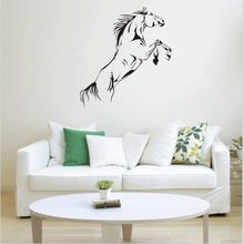 PVC Black Running Horse Wall Sticker Removable Vinyl Art Mural Home Decor Jump Horse Wallpaper decor living room decoration(China)