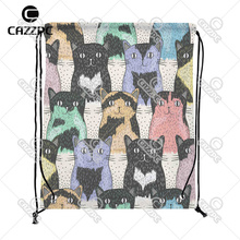 Cartoon Cute Cat Seamless Pop Art Print Custom individual Nylon Fabric Drawstring Shoes Storage Dust Bag Pack of 4