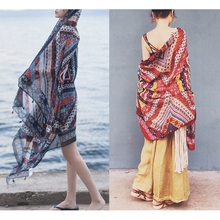 Soft Beach Travel Scarf Womens Ramie Cotton Yarn Sun-proof Large Shawl Tippet