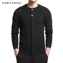 Buy Varsanol Cotton Sweater Man Long Sleeve Cardigan Mens O-Neck Sweaters Loose Button Fit Knitting Casual Style Black Color Tops for $27.09 in AliExpress store