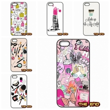 Pink Makeup on We Heart It Pattern Cell Phone Case Cover For iPhone 4 4S 5 5C SE 6 6S 7 Plus Galaxy J5 A5 A3 S5 S7 S6 Edge