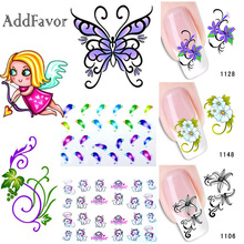 Addfavor 2 Sheets Flower Cute Animal Nail Decal Water Transfer Wraps Nail Art Sticker Waterproof Nail Beauty Decoration Tools(China)