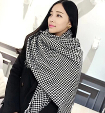 Large shawl fashion classic black and white houndstooth plaid pashmina warm long design scarf for women 190*90cm