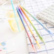 6 pcs/Lot Rainbow color ballpoint pen Slim body Click 0.5mm blue ink roller ball pens Office accessories school supplies 6633