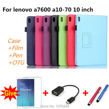 For Lenovo A7600 10.1''Stand Litchi PU leather case cover capa para For Lenovo tab a10-70 a7600 Smart Tablet PC + screen+Pen+OTG