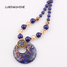 New Fashion Personal lampwork Murano art glass beaded pendant necklace Jewelry FEAL N168(China)