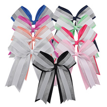 "Buy 6"" Girls Boutique Grosgrain Silver Organza Hair Cheer Bow Handmade Patchwork Cheer Bows Clip Hair Accessories for $1.17 in AliExpress store"