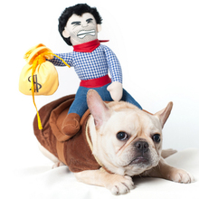 Hot Sale Christmas Riding Horse Dog Costume Novelty Funny Halloween Party Pet Dog Large Clothes Cowboy Dog Clothing S-XL