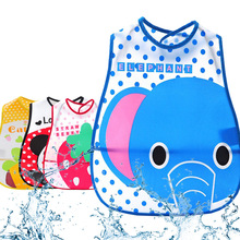 Solid Bibs Infant Baby EVA Eat Pocket Baberos Cartoon Animal Print Waterproof Child Overclothes Dribble Bibs(China)