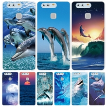 sea animal cute dolphin Cover phone Case for huawei Ascend P7 P8 P9 P10 lite plus G8 G7 honor 5C 2017